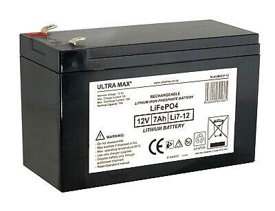 TWO x ULTRAMAX 12V 7Ah LITHIUM ION BAIT BOAT Batteries | Waverunner, Viper etc