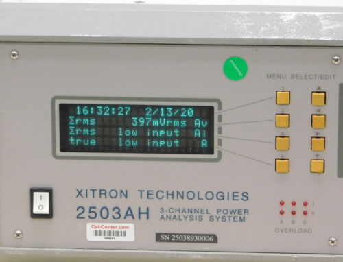 XITRON Technologies. 2503AH  3 Channel Power Analysis System, 30 day ROR