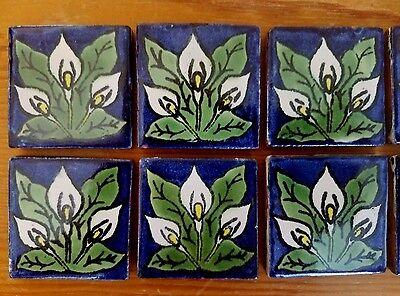 """10 Handmade 2"""" x 2"""" Mexican Talavera Clay Tiles Triple Calla Lilies Handpainted"""