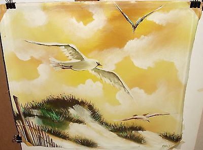 CARLSON SEASCAPE BIRDS OIL ON CANVAS PAINTING  on Rummage