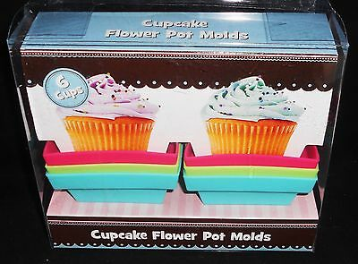 Cupcake Silicone Flower Pot Molds 6 Ct Square