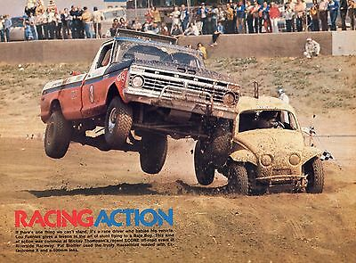 1974 Great Pic of Ford Pickup Truck Racing a Baja VW Volkswagen Bug M/T's SCORE