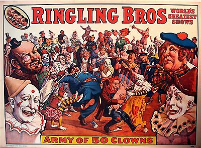 1960 Ringling Bros Circus World Museum Old Clown Poster