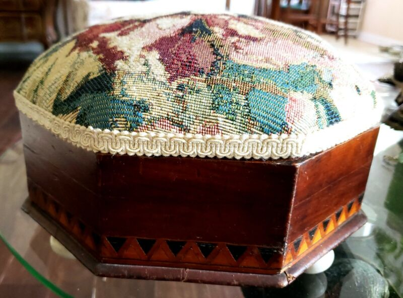 ANTIQUE WOOD FOOTSTOOL SPITTOON INLAID BAND PORCELAIN FEET TAPESTRY TOP