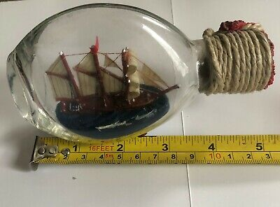 Vintage Ship in a Bottle. Nautical Signed and dated 1960
