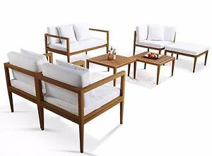 WOODEN TEAK LOOK OUTDOOR LOUNGE SUITE BBQ PATIO FURNITURE - DEMO Dingley Village Kingston Area Preview