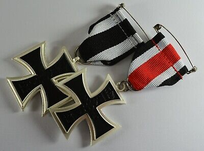Pair of Full Size Replica Iron Cross Medals with Ribbon Germany/Prussia WW1 WW2