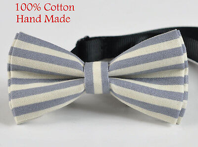 Men ELEMENTS STRIPE GREY White Stripes 100% Cotton Hand Made Bow Tie Bowtie White Stripe Bow Tie