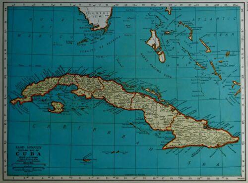 Vintage 1939 World War WW II Era Atlas Map Cuba Guantanamo Bay West Indies L@@K!
