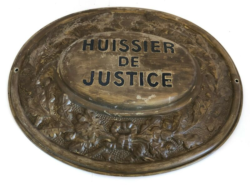 Authentic Vintage Original Large French Court Bailiff Sign Huissier de Justice