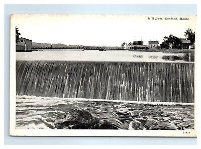 Mill Dam, Sanford, Maine Postcard