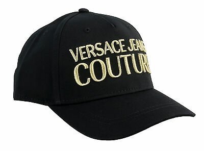 Versace Jeans Couture Black/Gold 100% Cotton Mid Visor Cap