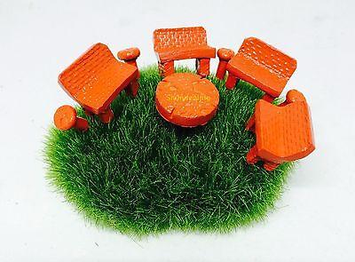 Dollhouse Miniature Fairy Garden Terrarium Accessories-Set of Table & Chairs 9P