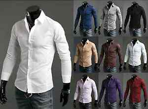 New-Luxury-Shirts-Mens-Casual-Formal-Slim-Fit-Shirt-Top-S-M-L-XL-XXL-PS01