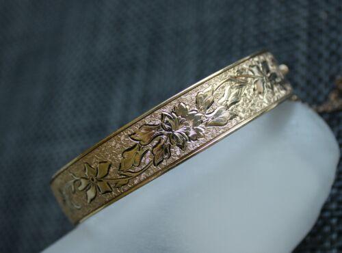 Vintage 12k Gold Filled Antique Victorian Black Taille D'epargne Enamel Bracelet