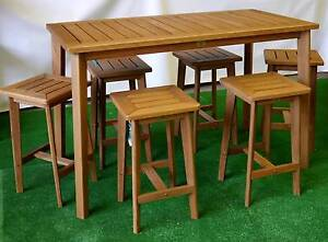 New Capri Bar Height Table Stool Setting Timber Outdoor Furniture Melbourne CBD Melbourne City Preview
