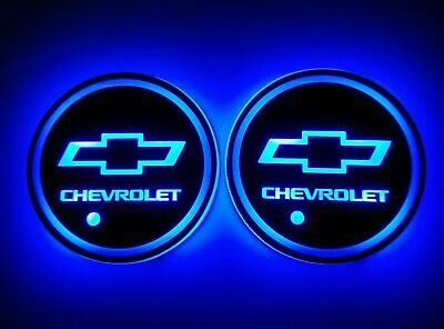 2PCS LED Car Cup Holder Pad Mat For CHEVROLET Auto Atmosphere Lights Colorful (Cup Holders)