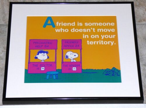 PEANUTS SNOOPY LUCY FRAMED VINTAGE POSTER PRINT PSYCHIATRIST CHARLES SCHULZ