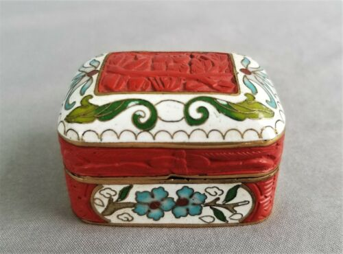 Vintage Cloisonne & Cinnabar Trinket Box Carved Owl Top Chinese Pill Box
