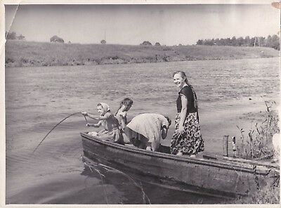 1960s BIG Girls fishing in boat with woman on river fashion Soviet Russian photo