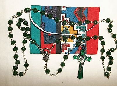 Green Rosary 6mm Catholic St Benedict Handmade Communion Rosary with pouch