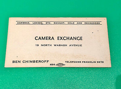 VINTAGE CAMERA EXCHANGE BUSINESS CARD  - CHICAGO, IL