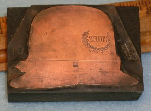 Antique POLICE CHIEF HAT Copper Printing Block * MC Lilley G135