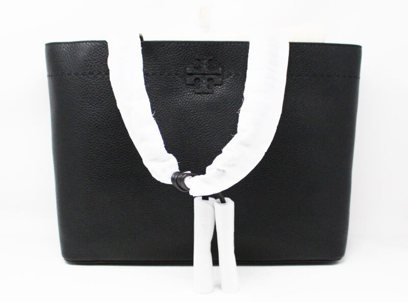 Tory Burch Womens McGraw Leather Top Handle Tote Bag Black/Royal Navy