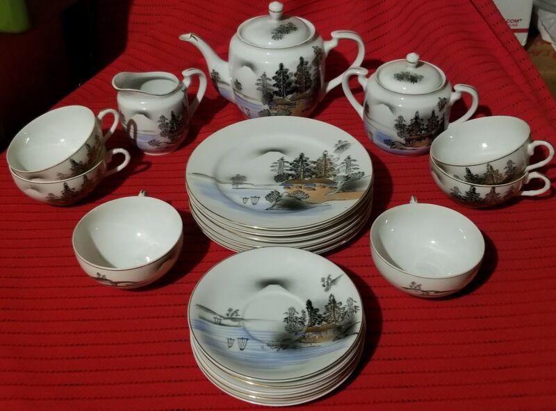 VINTAGE KUTANI HAND PAINTED CHINA 21pc TEA SET