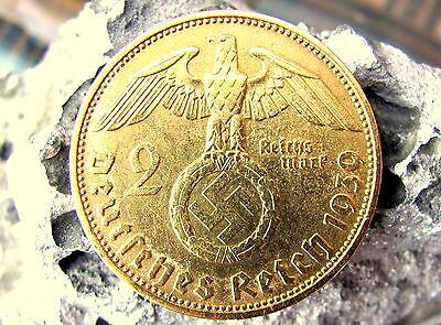 2 Reichsmark 1936 - 1939 mit HK - 24 Karat vergoldet