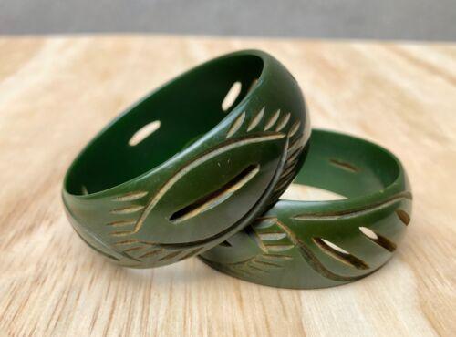 Lot 2 Vintage Bakelite Bangles Small Child MAIDEN SIZE Carved Dark Green Tested