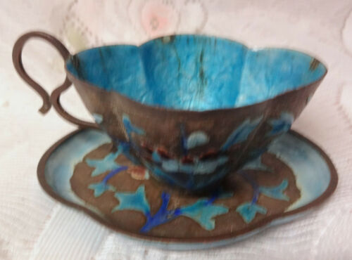 Antique Chinese Export Copper Metal Enamel Floral Tea Cup & Saucer