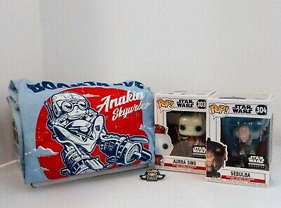 Star wars Smugglers Bounty Box Funkos-Aurro Sing, Sebulba, Pin, 3x Tee Shirt