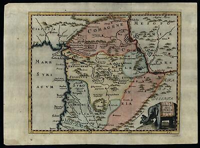 Syria Middle East 1712 decorative Cluverius map Elephant cartouche