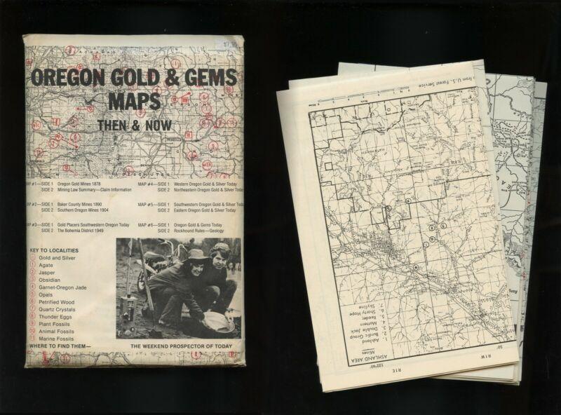 Oregon Gold & Gem MAPS Then & Now 1975 6 map package Binford & Mort Publishing