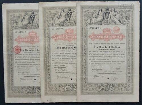 Austria - Imperial Austrian Government - 1868 - 5% bond for 100 gulden 3x