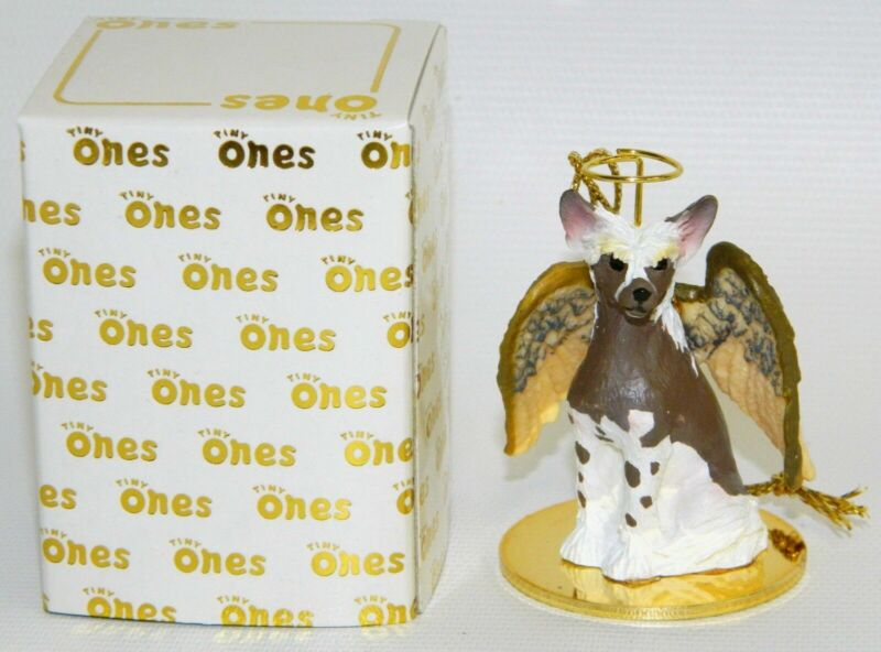 "Chinese Crested Dog Figurine Ornament Angel 2"" Miniature Figure Tiny Ones 1996"