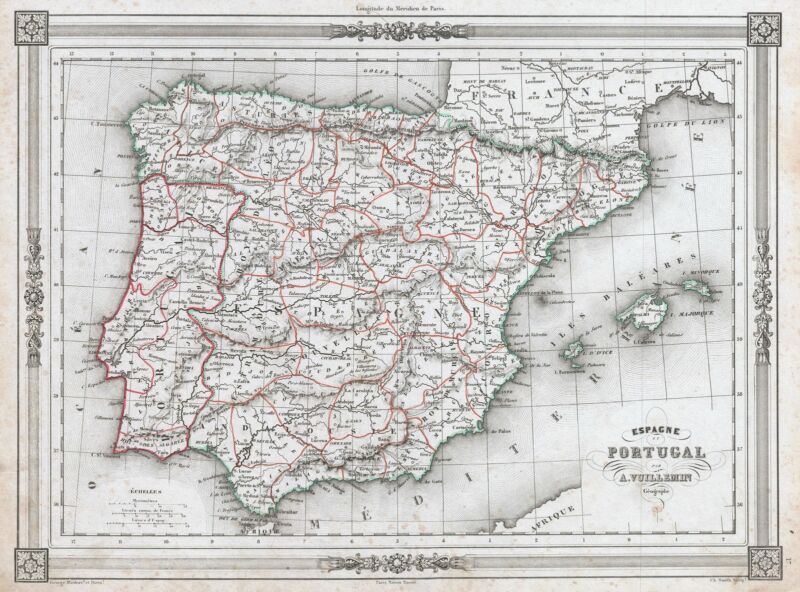 1852 Vuillemin Map of Spain and Portugal