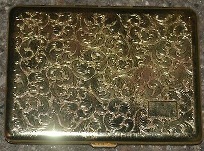 Vintage CIGARETTE Case Gold Tone Tobacco