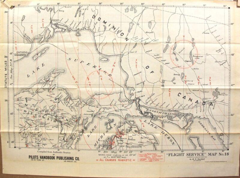 2 - 1931 Flight Service Aviation Maps from Rare ~ Pilots Handbook  1931 19 x 27