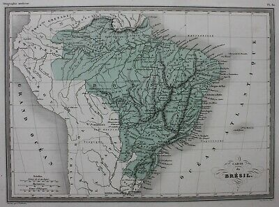SOUTH AMERICA, BRAZIL, original antique map, Malte-Brun, c.1882