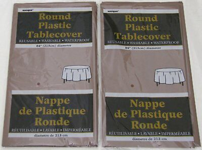 Brown Plastic Tablecloth (Lot of 2 - Unique Brown Round Plastic 84