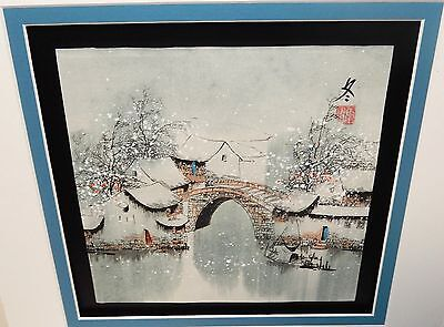 JAPANESE WATERCOLOR SNOW LANDSCAPE BRIDGE RIVER BOAT PAINTING SIGNED