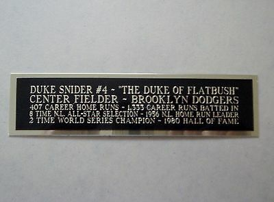 Duke Snider Dodgers Nameplate For An Autographed Baseball Jersey Case 1.25 X 6