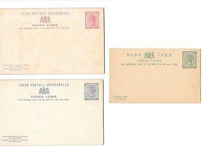 AFRICA (Sierra Leone)- 3 very old unused postal cards ( 1881-1883) at good price