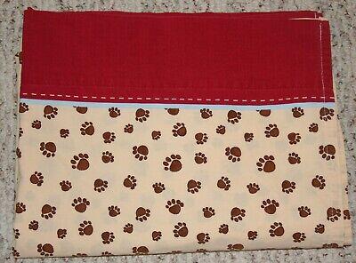 Woolrich Kids Big Bear Paw Prints Twin Flat Sheet Brown Red Cotton Woodland Camp