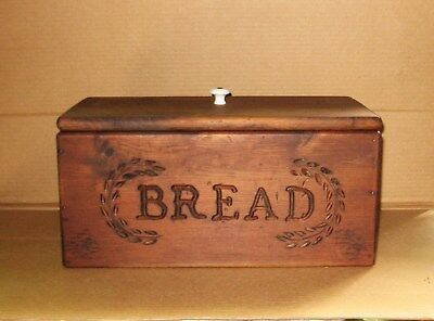 VINTAGE COUNTRY STAINED PINE WOODEN WOOD BREAD BOX