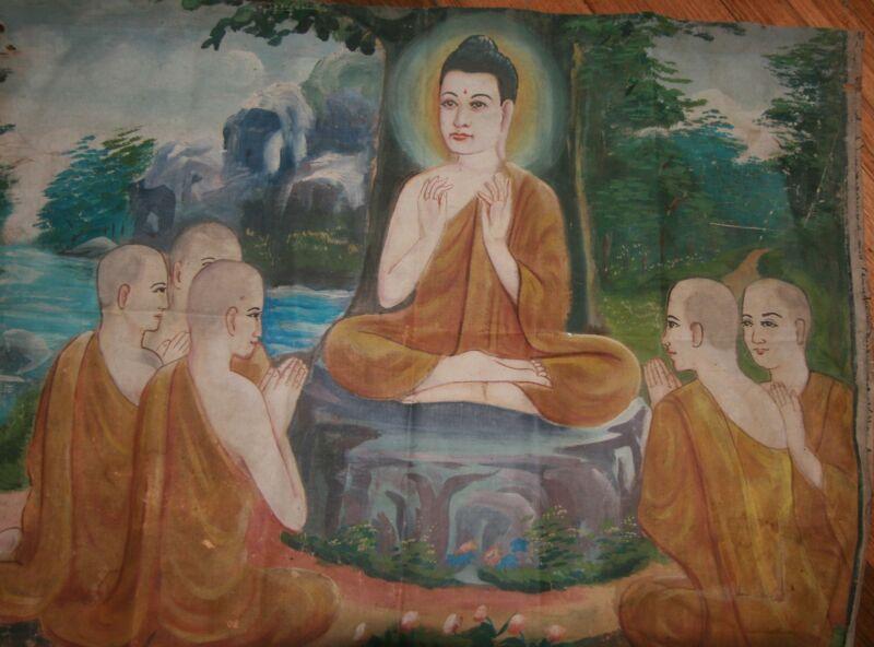 Antique Cambodia Buddhist Canvas Oil Painting