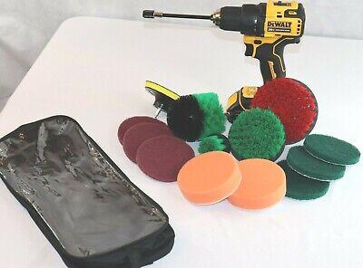 3 Piece Drill Brush Set Green + 11 Piece Drill Brush Attachments + Carrier Bag Bag Attachment Set