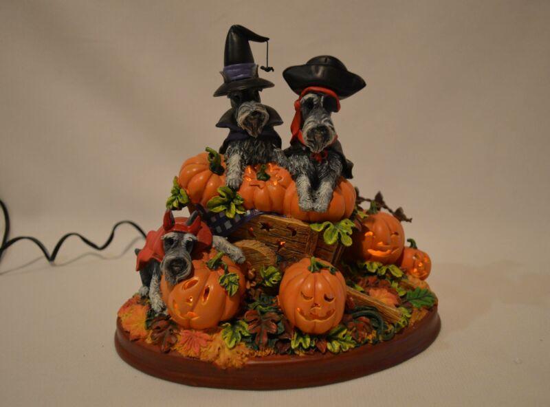 Danbury Mint Halloween Pumpkin Patch Miniature Schnauzers Dog Lighted Figurine